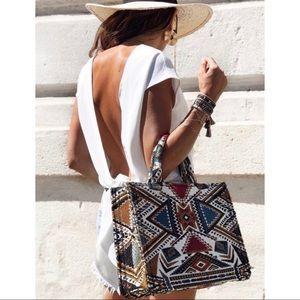 ZARA RARE geometric aztec tote bag